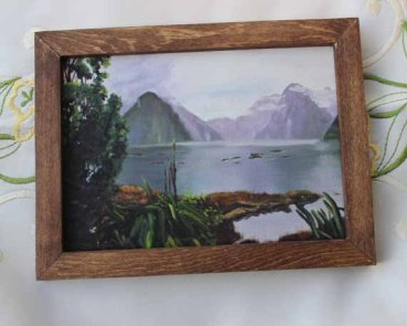Milford Sound,570 pixels- 5x7 Giclee print, Brown Frame_edited-1 copy