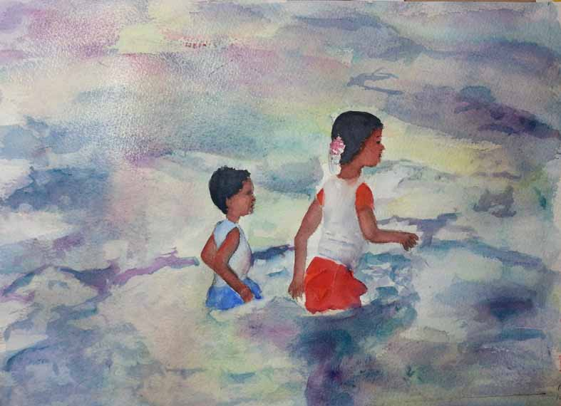 570 pixels -beginning of Children on the Beach - Zihuatanejo